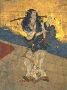 "The earliest portrait of Izumo no Okuni, the founder of kabuki. In 1629, kabuki was banned for women ""for being too erotic,"" leading men to play all roles in the future, regardless of gender."