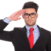 portrait of a young business man saluting and looking at the cam