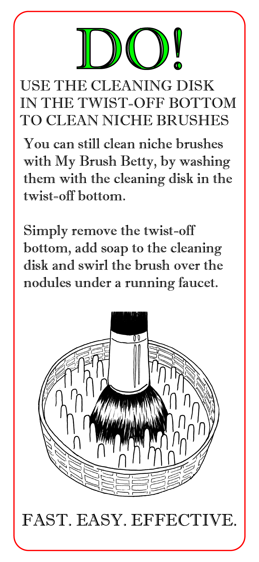 Cleaning Disk - hand cleaning brush instructions.