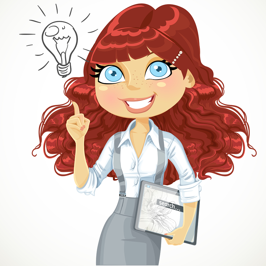 Cute brown curly hair girl with a electronic tablet idea inspira