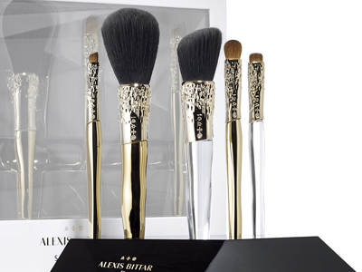 Alexis Bittar Liquid Gold: Beauty Brush Set + Stand. $175. Shop